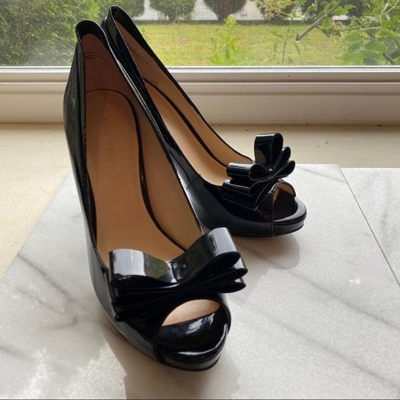 """Nine West 4"""" Stiletto Peep Toe Black Platform Heel"""
